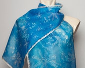 Elegant  Winter Hand Painted Silk Scarf with  White Snowflakes  Blue Silver 13 X 51.