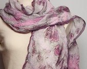 Wedding Gift  Merino Wool Nuno Felted Hand Painted  Silk  Scarf   16 X 57 with Light Grey and Pink Romantic Roses Flower READY TO SHIP