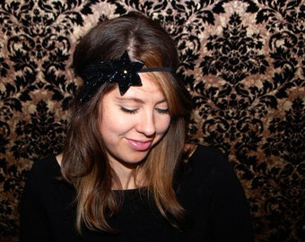 Glamorous 6 Pointed Black Shooting Star Headband // Shimmery, Sequined, Beaded, and Adjustable with Crystal!