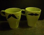 Mustache mug set - Green   set of 2