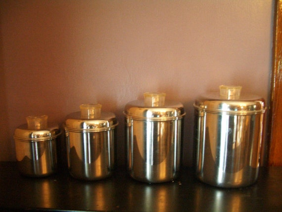 Vintage Stainless steel-Cannisters Modern-Revere Ware