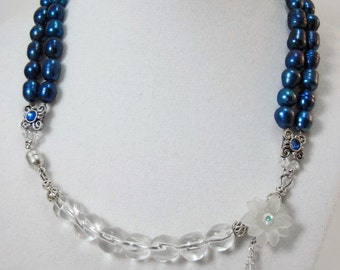 Arctic Bloom, Glass and Freshwater Pearl Necklace