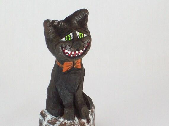 Black Cat Halloween Wood Carving Folkart