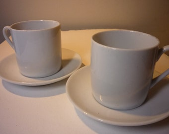 Vintage Porcelain Demitasse Cups - Pair of Espresso Cups and Saucers - Bright White great for gifting grab bags stocking stuffers