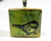 Little Green Bird - Glowing metallic Scrabble tile pendant