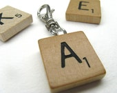 Scrabble tile clip with your initial for zipper pulls, flash drives, key rings