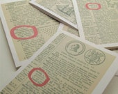 Vintage dictionary cards - SET OF 12 - Great all occasion cards
