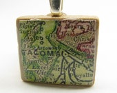 Tacoma - 1890s vintage Scrabble tile map