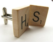 Scrabble tile cufflinks with your initials - great personalized gift for the man in your life
