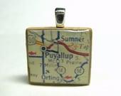 Puyallup, Washington - 1962 vintage Scrabble tile map