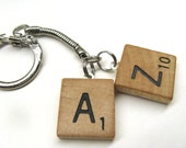 Scrabble tile keychain with two initials - great personalized gift