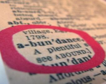 Vintage dictionary cards - ABUNDANCE
