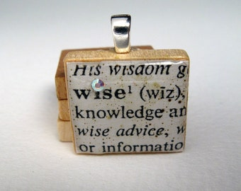 Wise  - vintage dictionary Scrabble tile with Swarovski crystal