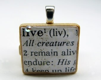 Live 1 - vintage dictionary Scrabble tile with Swarovski crystal