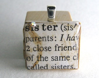 Sister - vintage dictionary Scrabble tile pendant or charm with Swarovski crystal