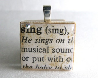 Sing - vintage dictionary Scrabble tile with Swarovski crystal
