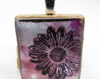 Purple daisy - Glowing metallic Scrabble tile pendant
