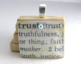 Trust - vintage dictionary Scrabble tile with Swarovski crystal
