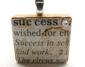 Success - vintage dictionary Scrabble tile with Swarovski crystal