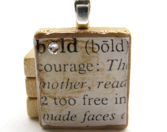 Bold - vintage dictionary Scrabble tile with Swarovski crystal