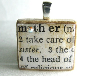 Mother- vintage dictionary Scrabble tile with Swarovski crystal