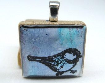 Little Blue Bird - Glowing metallic Scrabble tile pendant