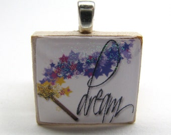 Sparkly Dream Scrabble tile pendant with magic wand