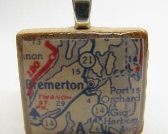 Bremerton, Washington - 1950s vintage Scrabble tile map