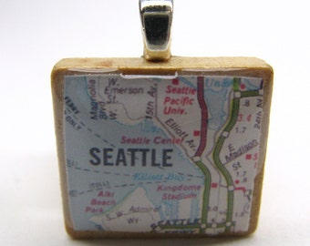 Seattle and Elliott Bay with Seattle Pacific University - 1980s vintage Scrabble tile map