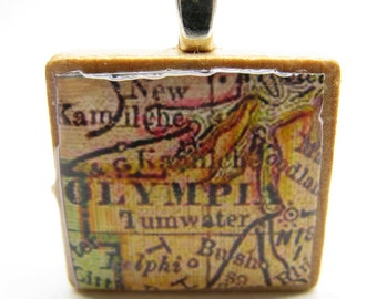 Olympia, Washington - 1890s vintage Scrabble tile map