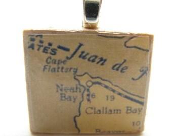 Neah Bay, Washington - 1950s vintage Scrabble tile map