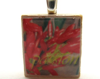 Passion - Peppers - Scrabble tile pendant - Italian Floral Inspiration series