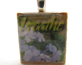 Breathe - Dainty blue flowers - Scrabble tile pendant - Italian Floral Inspiration series