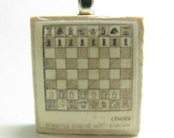 Chess set drawing - vintage dictionary Scrabble tile pendant