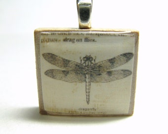 Dragonfly drawing - vintage dictionary Scrabble tile pendant