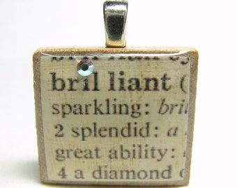 Brilliant - vintage dictionary Scrabble tile with Swarovski crystal