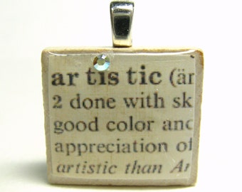 Artistic - vintage dictionary Scrabble tile with Swarovski crystal