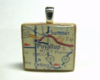 Puyallup, Washington - 1962 vintage Scrabble tile map