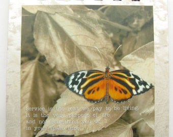 Service is the rent we pay to be living - notepad for helpers and volunteers with Edelman quote and English butterfly