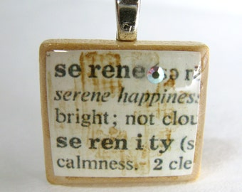 Serenity - serene - vintage dictionary Scrabble tile with Swarovski crystal