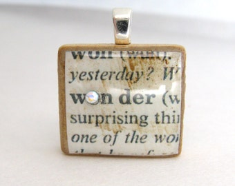 Wonder - vintage dictionary Scrabble tile with Swarovski crystal