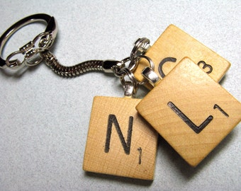 Scrabble tile keychain with 3 initials - great personalized gift