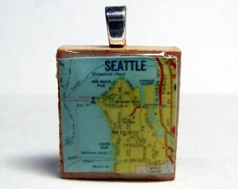 West Seattle - 1973 vintage Scrabble tile map pendant