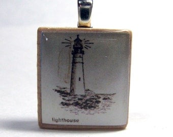 Lighthouse drawing - vintage dictionary Scrabble tile pendant