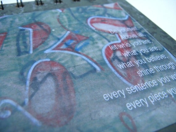 Notepad with John Jakes quote - Be yourself - and Italian graffiti