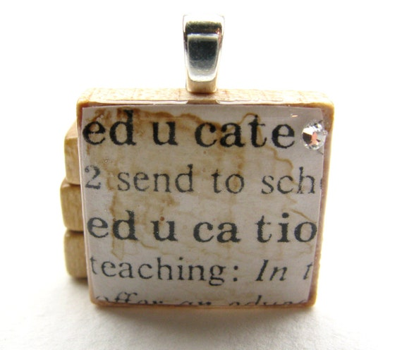 Educate - vintage dictionary Scrabble tile with Swarovski crystal - great teacher gift