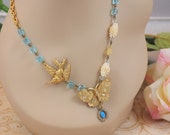 oOo ON SALE  oOo  MS JOSEPHINE VINTAGE BUTTERFLY, BIRD AND RELIGIOUS MEDALLION NECKLACE