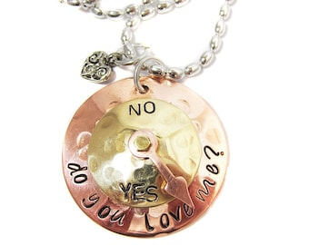 RESERVED  for agseay - Do You Love Me Check Yes or No Necklace