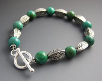 Turquoise Bracelet with Silver Accent Beads