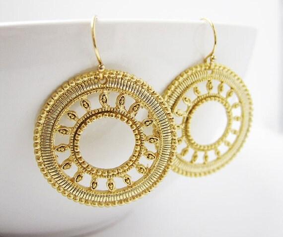 Large Gold Earrings- Round-Sun Burst Design